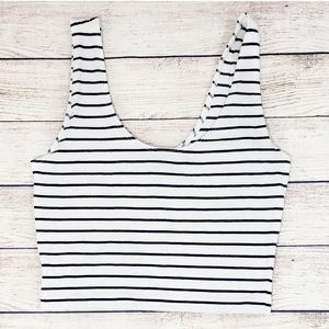 Forever 21 White and Blue Striped Crop Tank Top